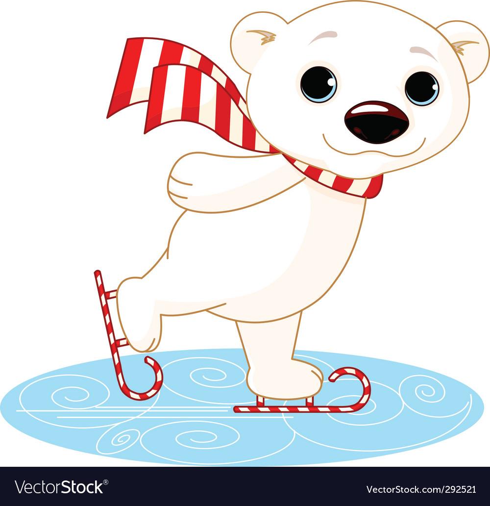 Polar bear on ice skates vector image