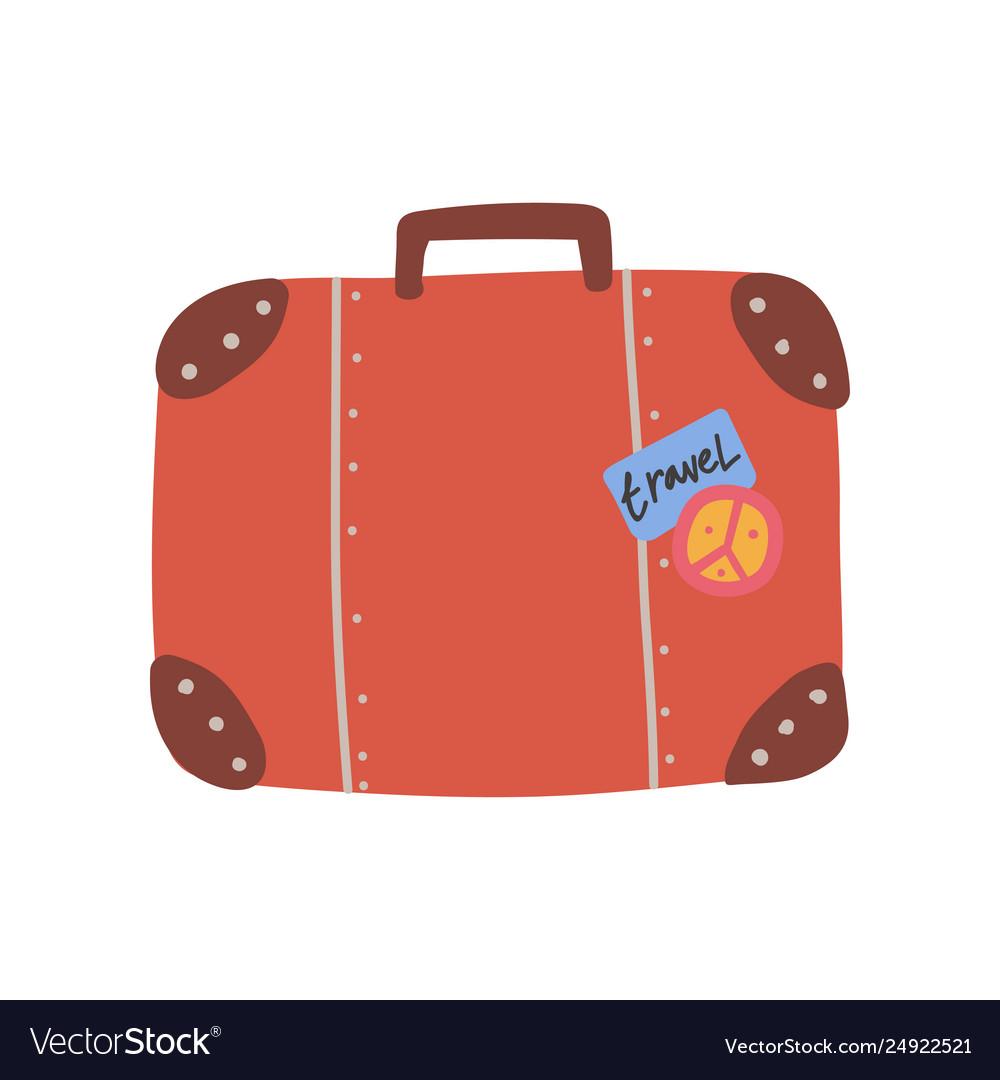 Retro leather suitcase summer travel sign symbol