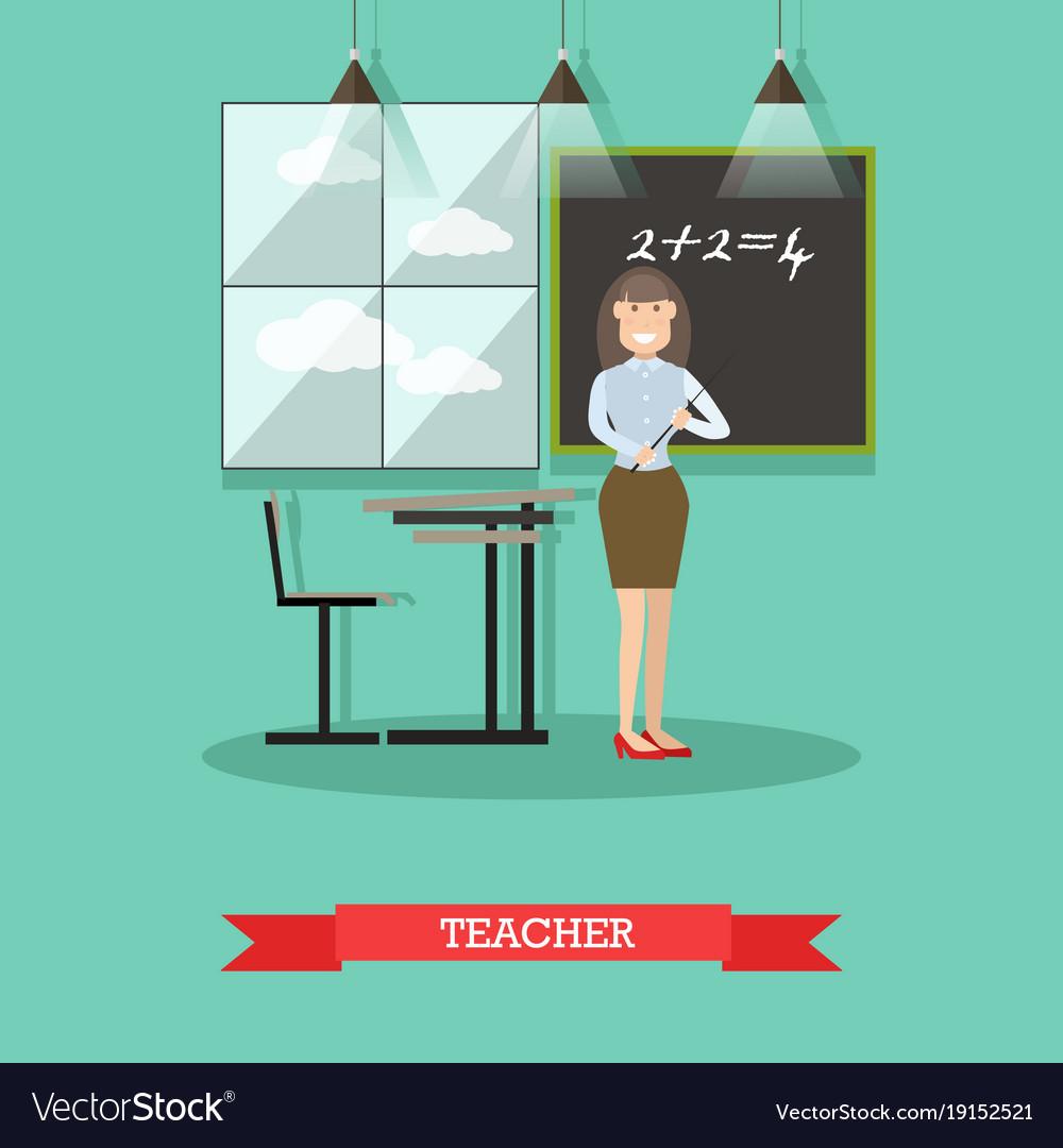 School teacher in flat style