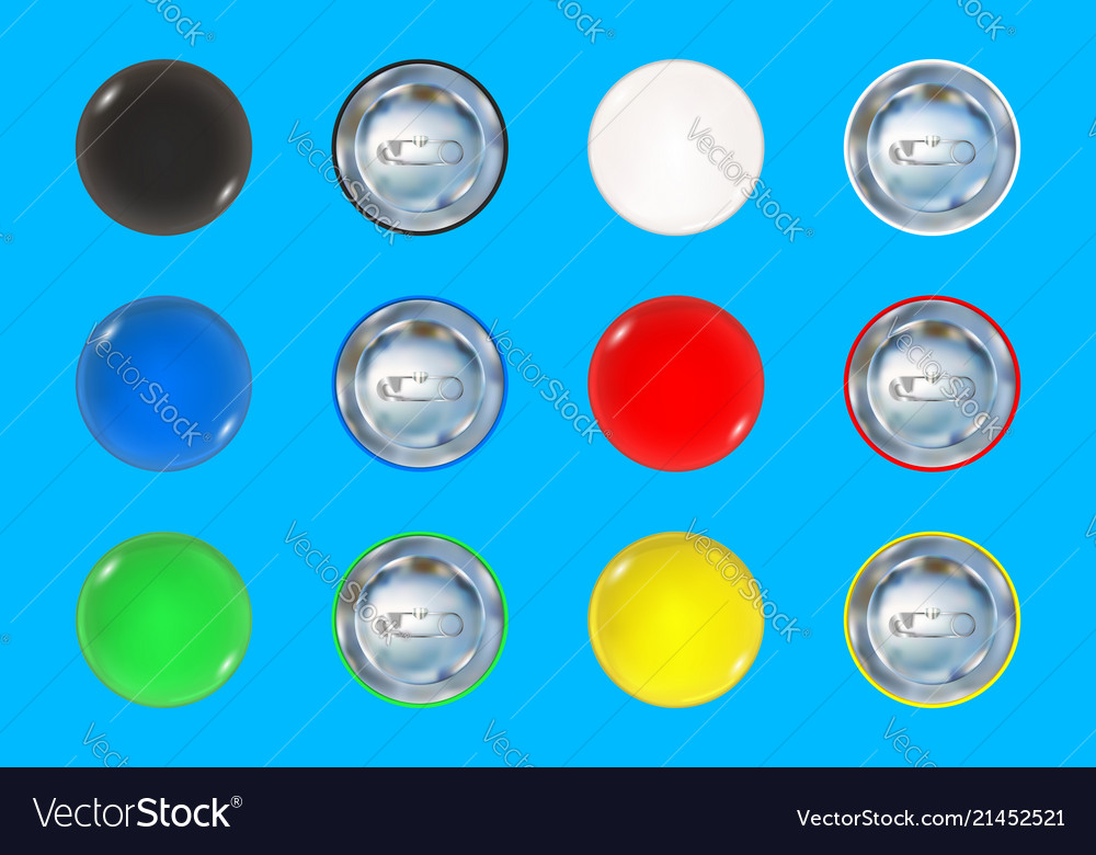 Set of colored pin button