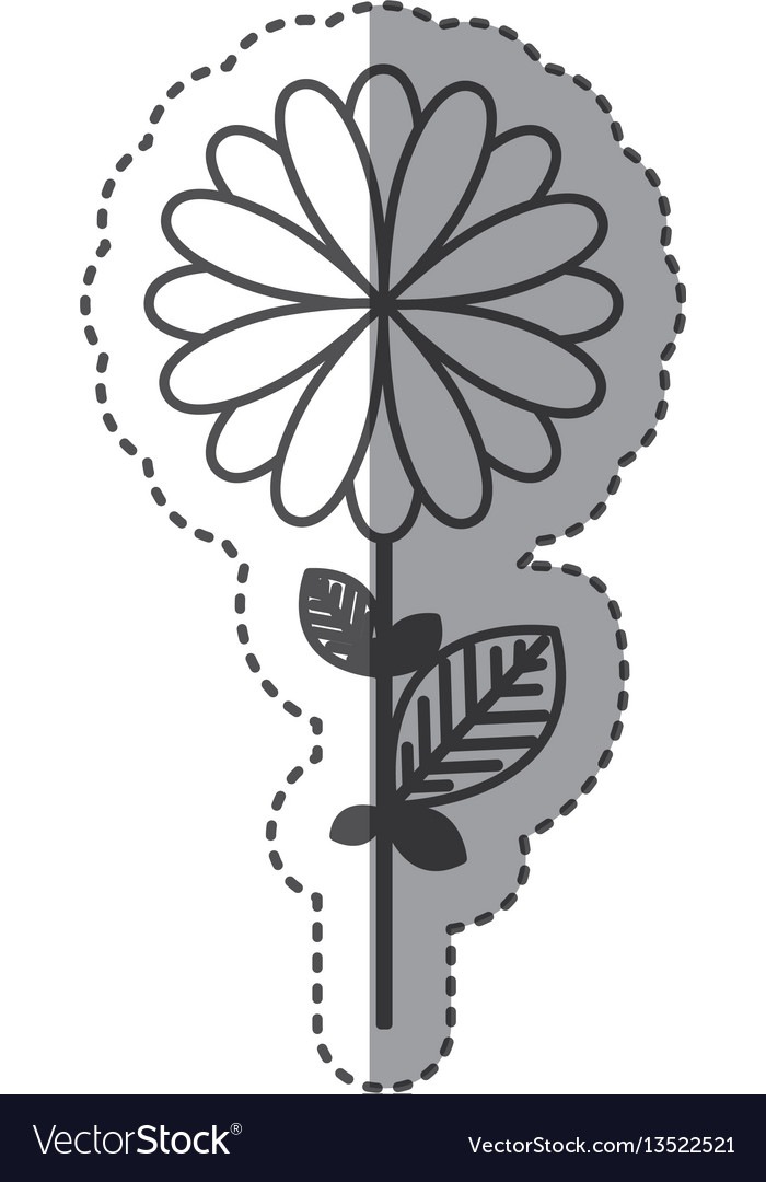 Silhouette flower with petals and leaf icon