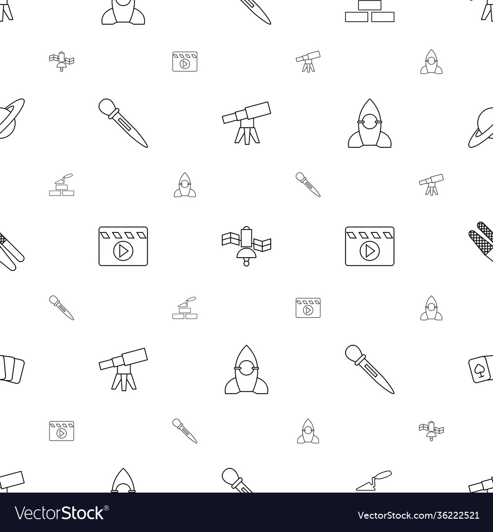 Space icons pattern seamless white background