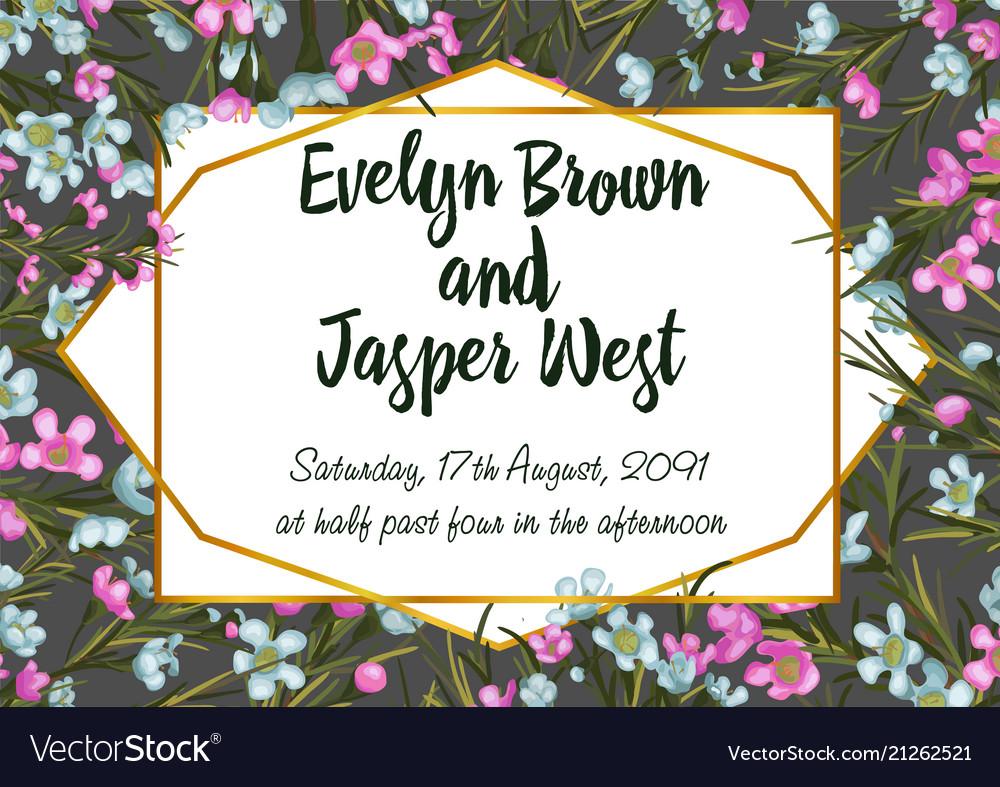 Waxflower wedding invitation card template floral