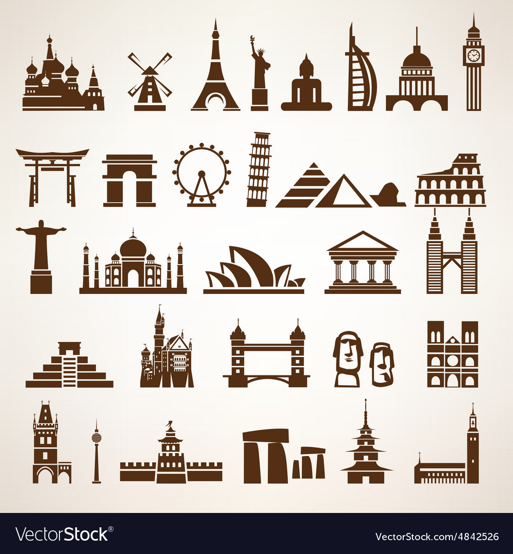 Big set world landmarks and historic buildings vector