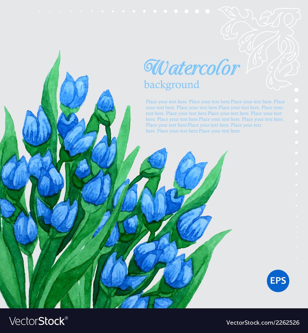 Blue tulip floral watercolor frame
