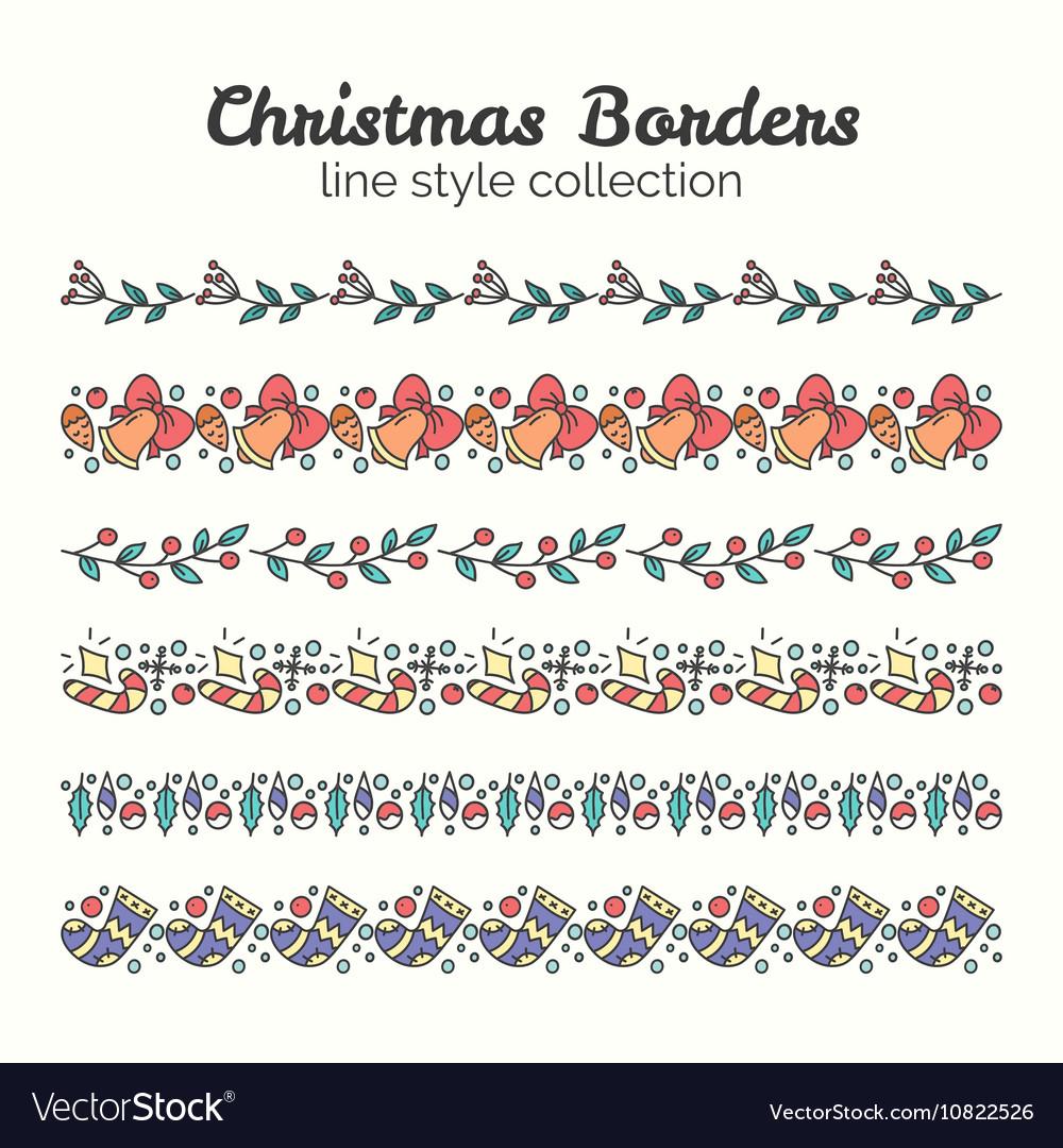 Christmas Borders Set of Christmas Seamless