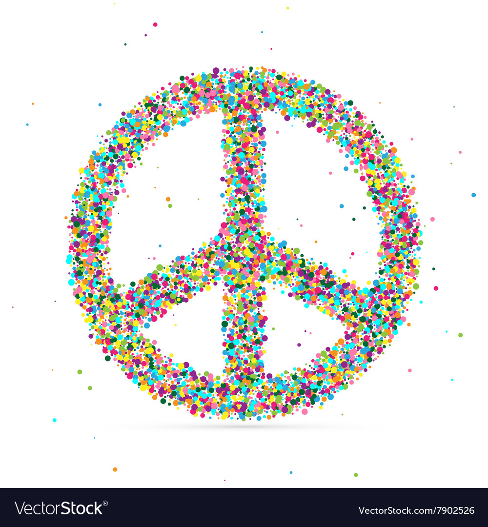 Peace symbol consisting of colored particles vector image