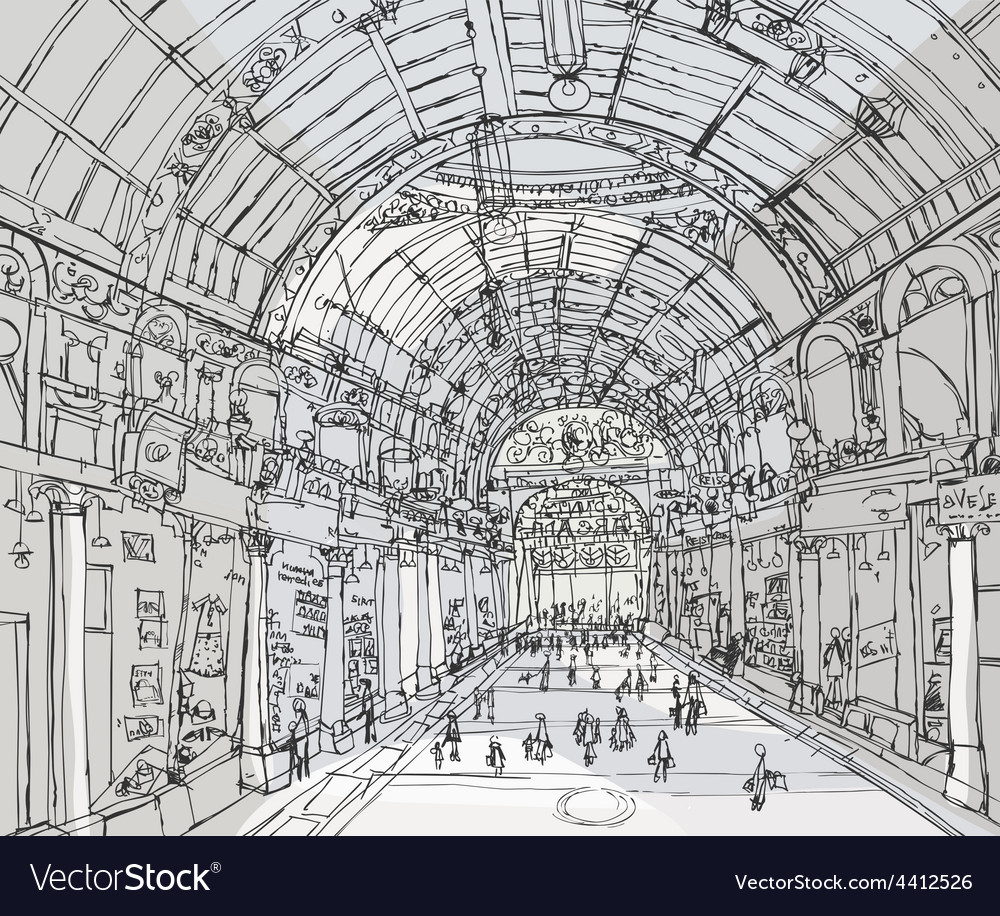 Pencil drawing gallery passage