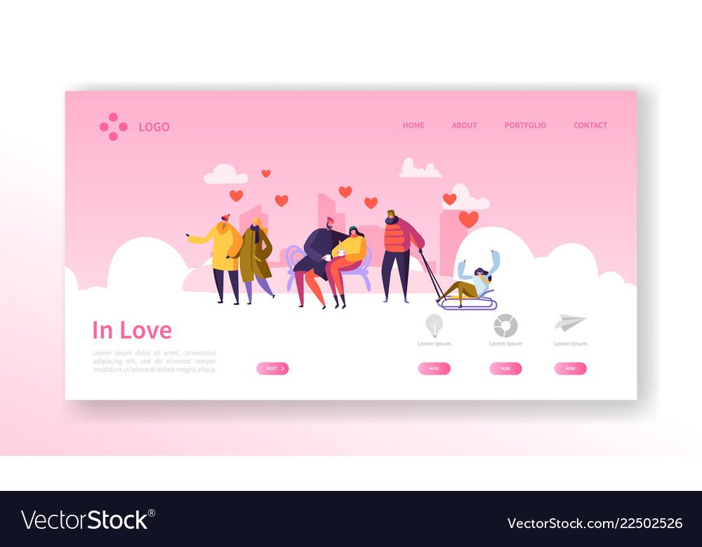 People in love on winter season landing page