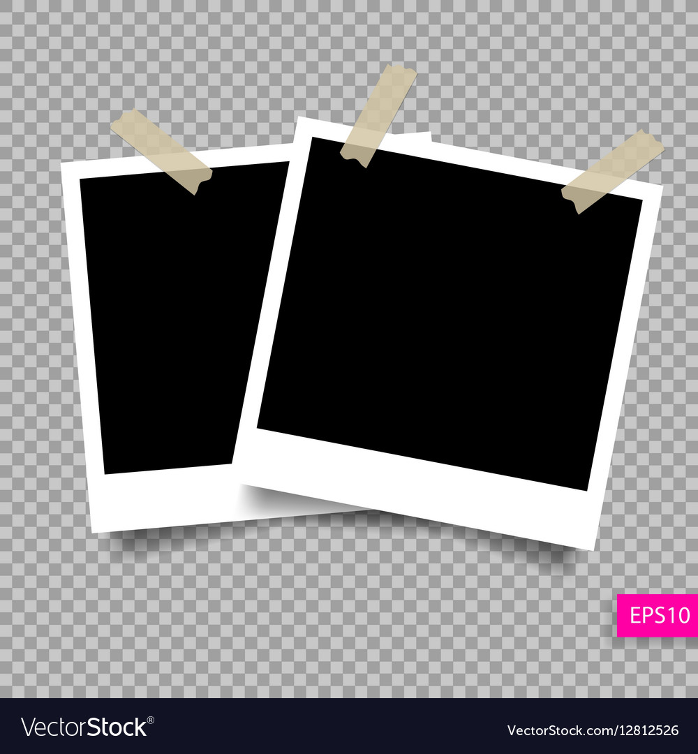 Two retro polaroid photo frame templat
