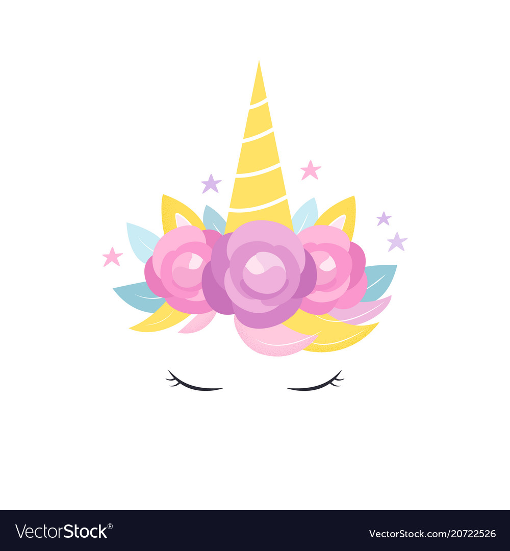 Unicorns horn with flowers and eyelashes card Vector Image 3397ad9e414