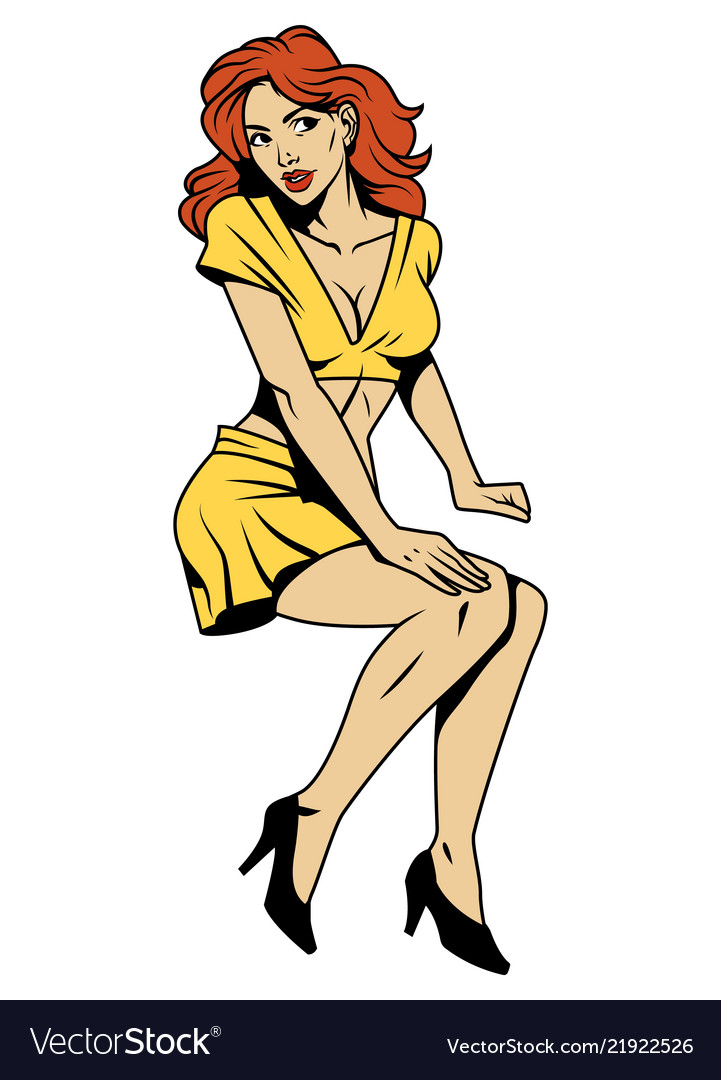 Vintage attractive pin up girl