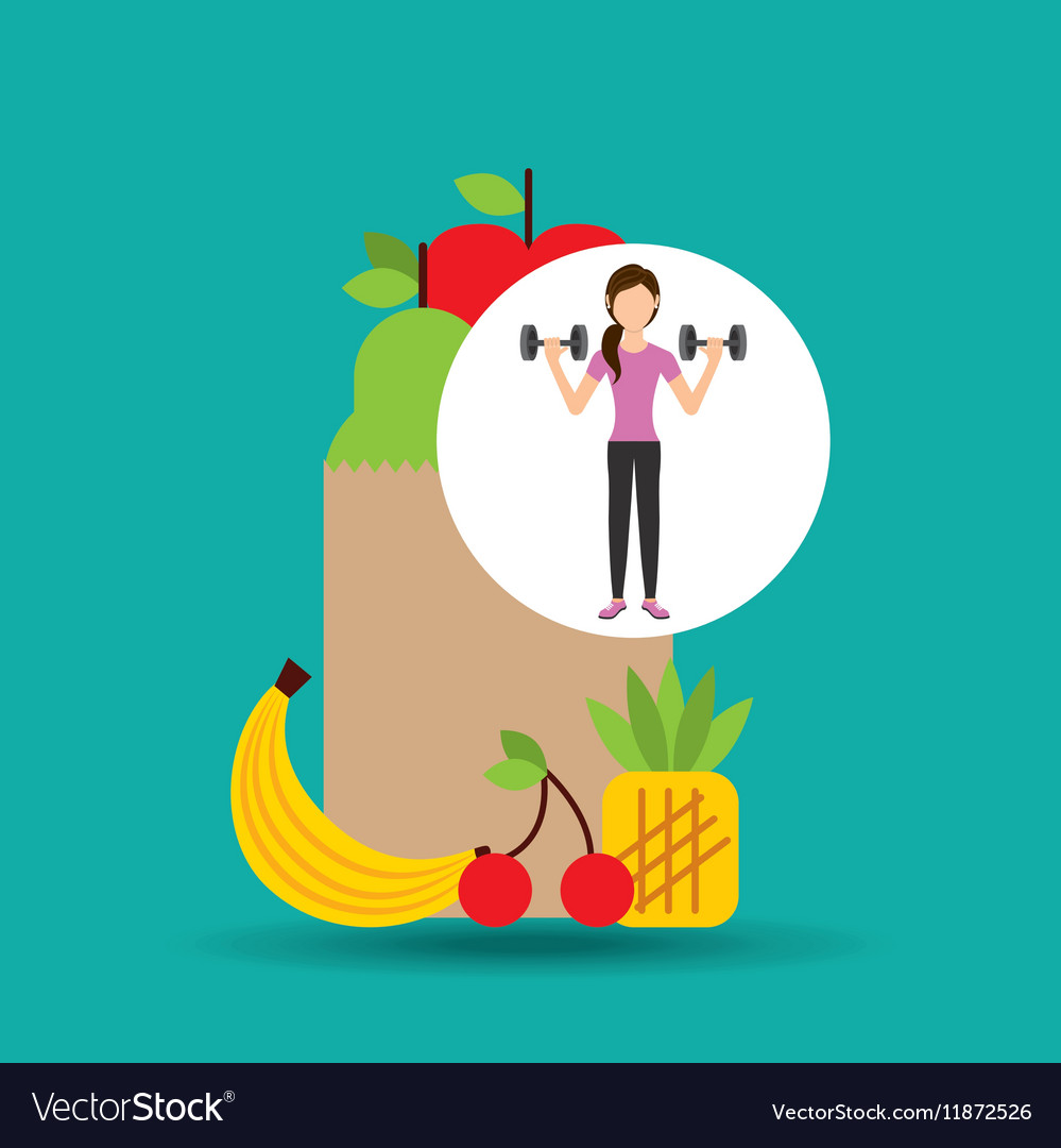 Woman dumbbell exercising healthy food bag