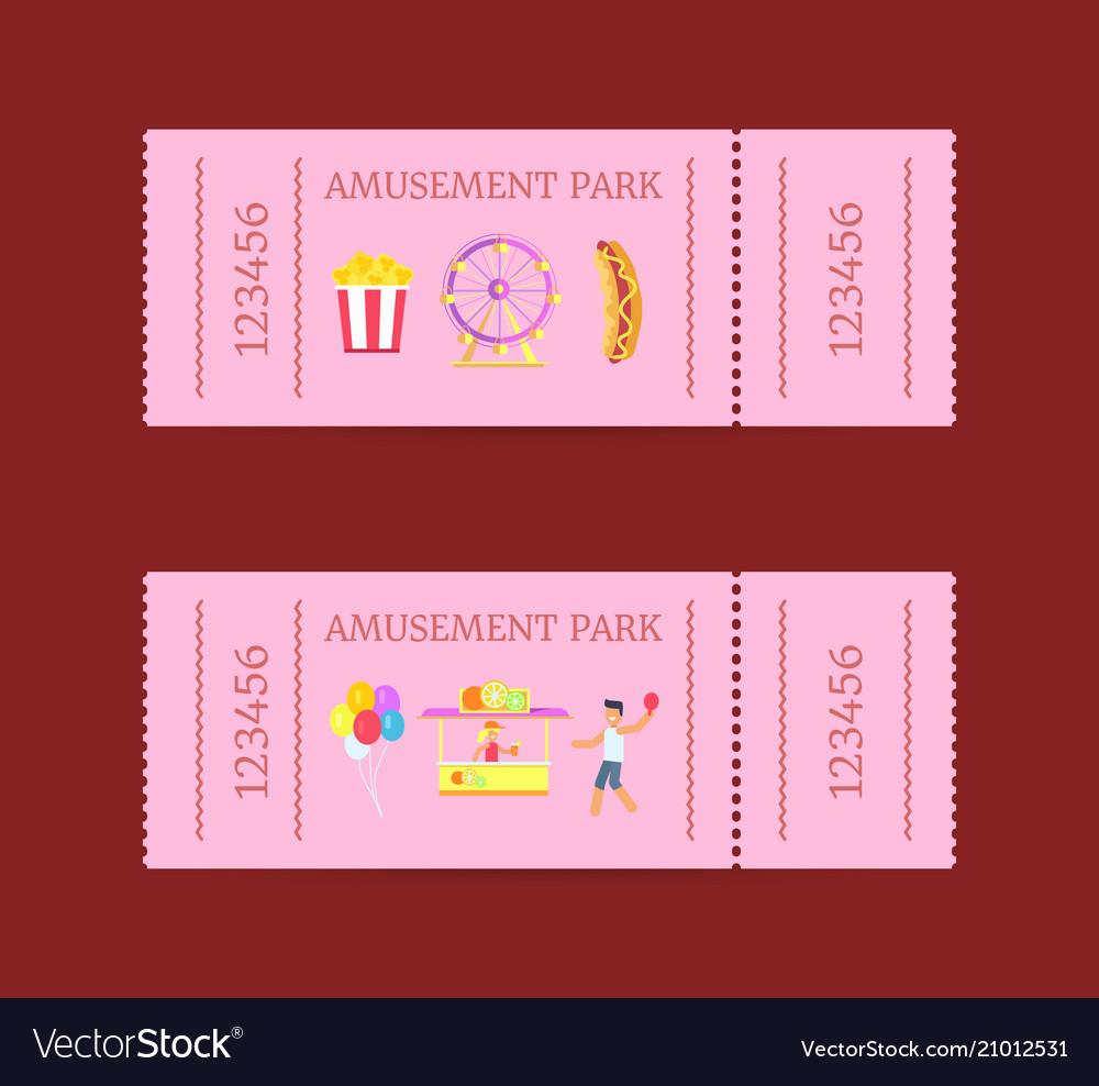 Amusement park ticket set