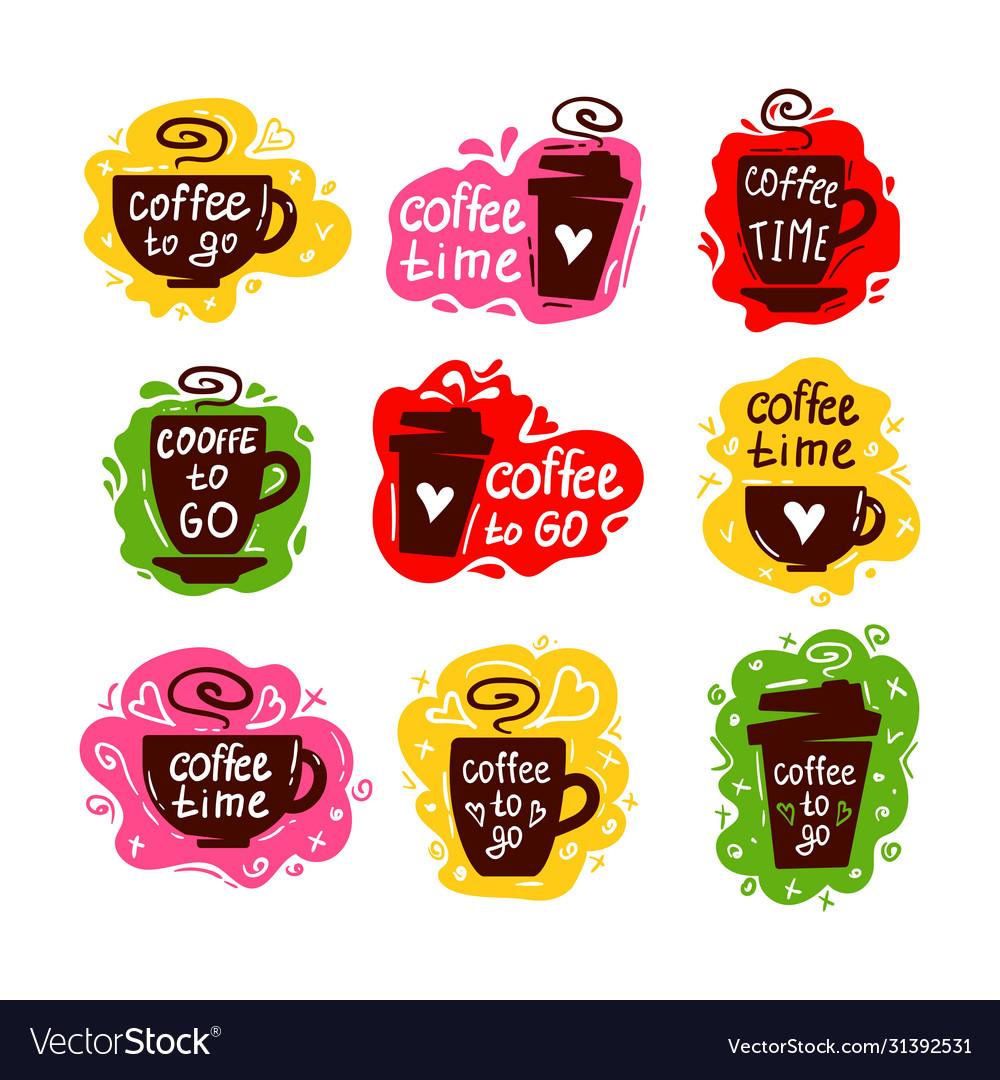 Coffee cup logos set
