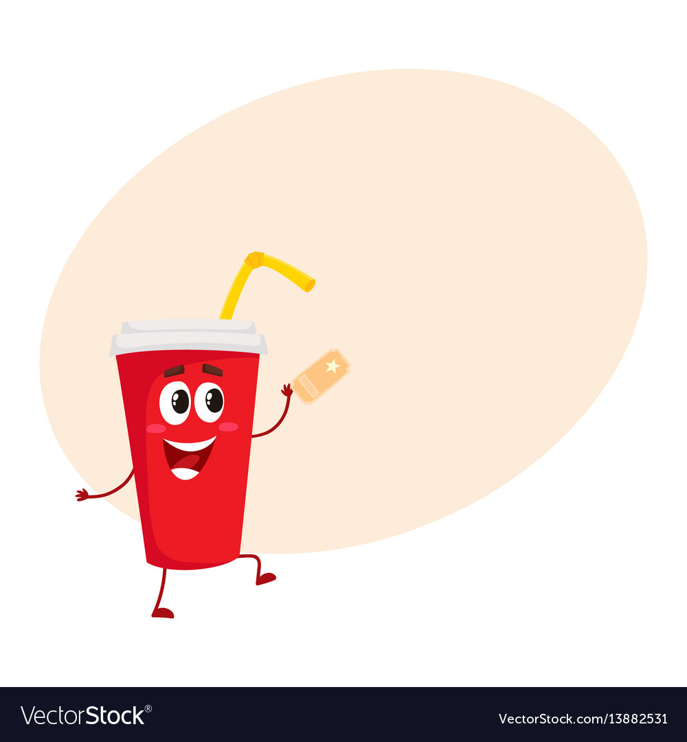 Cute and funny soda drink character with smiling