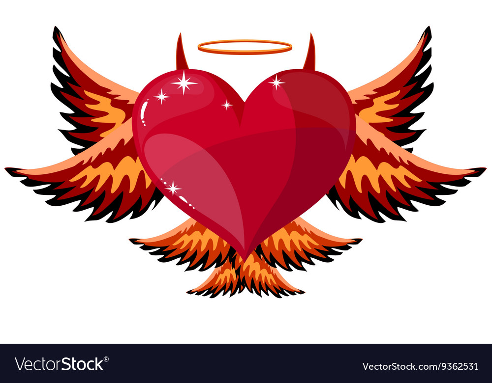 devilish heart with horns and wings royalty free vector