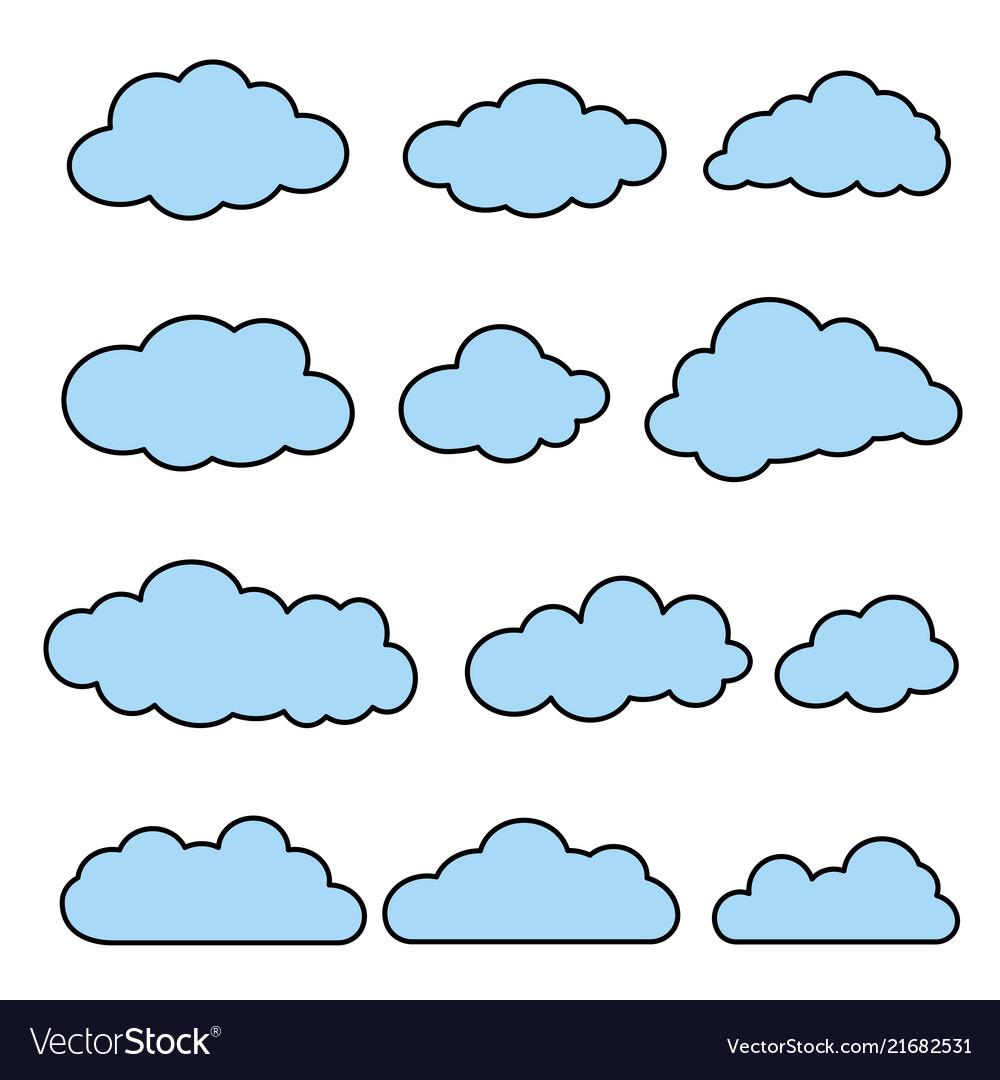 Flat line clouds set