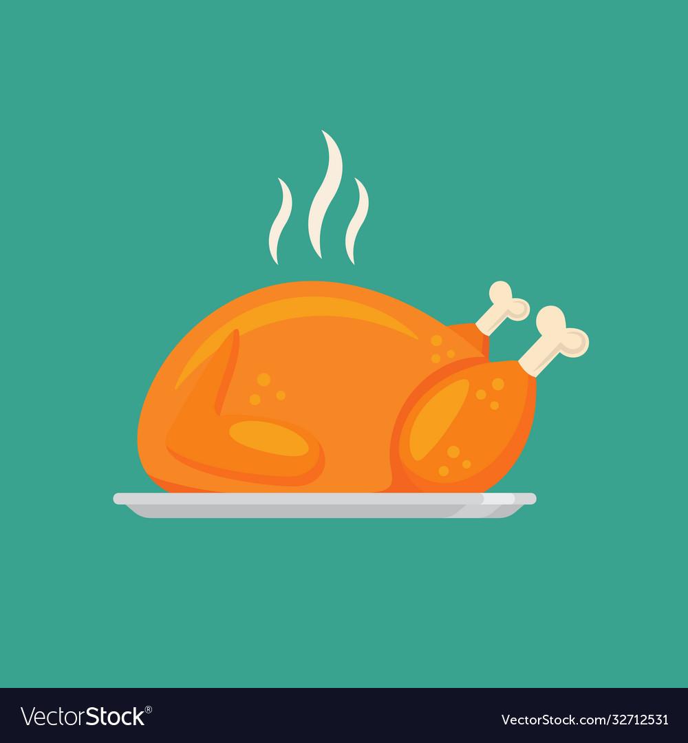 Fried chicken or turkey in flat style design