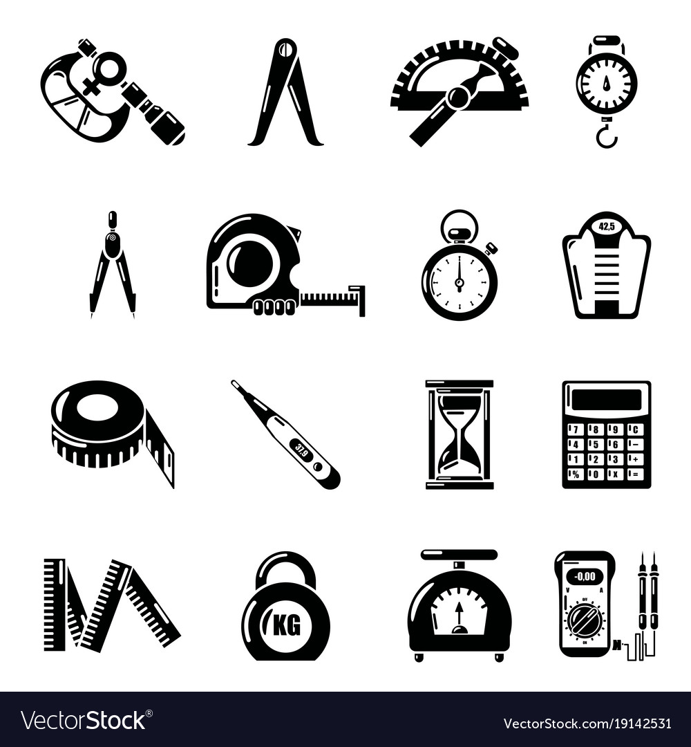 Measure precision icons set simple style