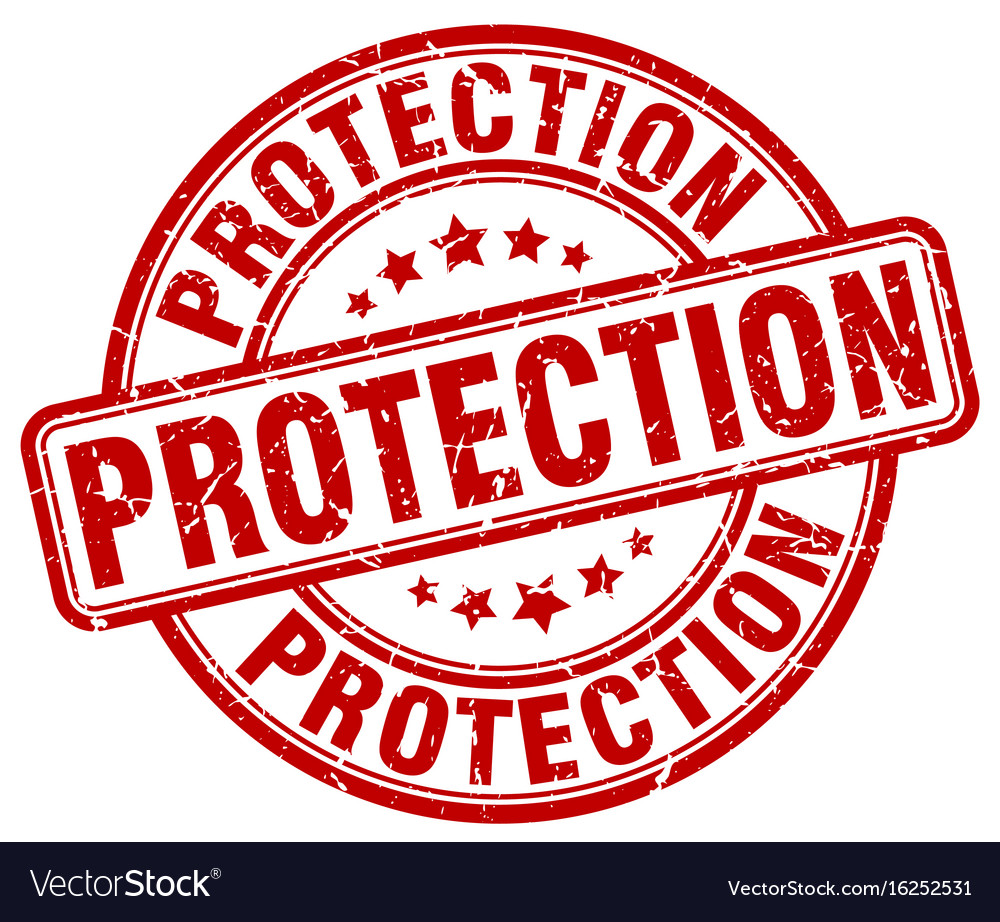 Protection red grunge stamp