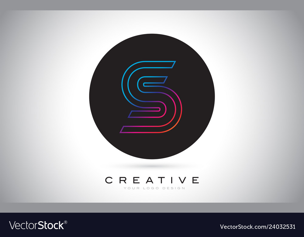 S blue purple letter logo design colorful modern