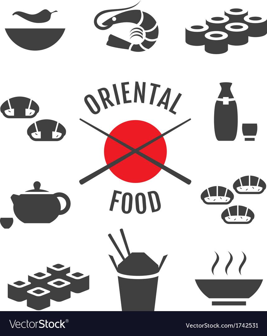 Set of oriental japanese food icons
