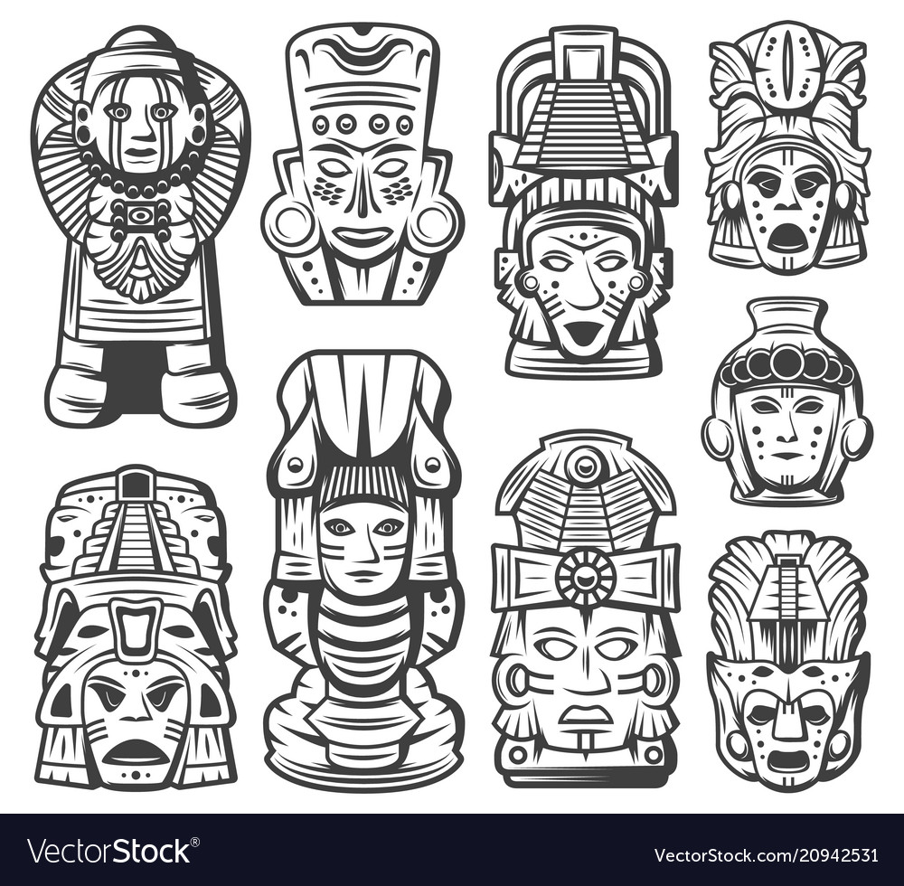 Vintage maya civilization objects collection