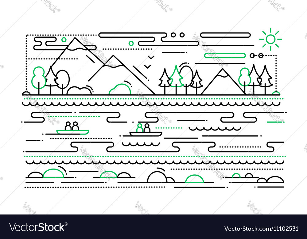Water Tourism - line flat design vector image