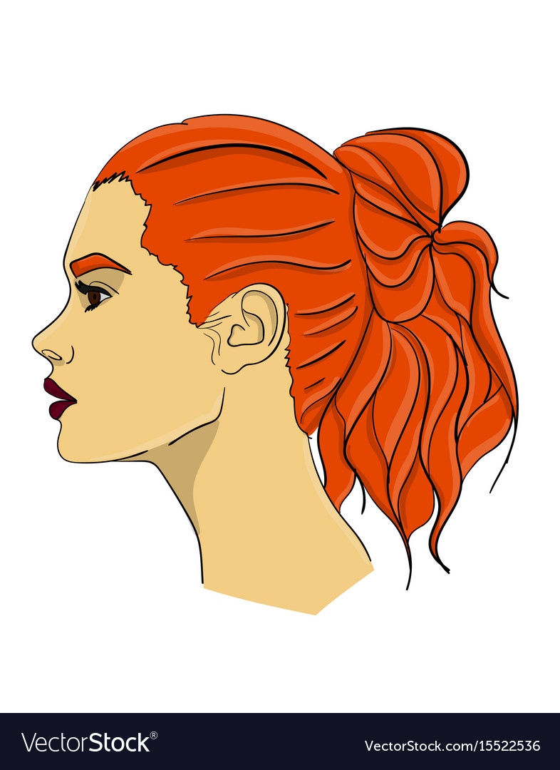 A woman with long red hair in profile hair from