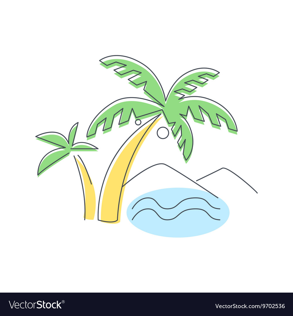Beach Mountain And Palm Trees