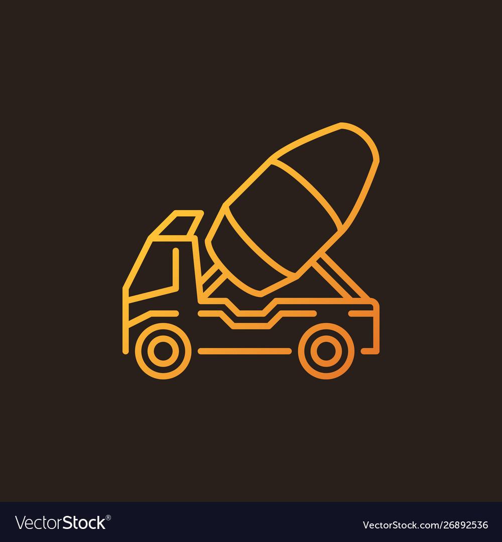 Concrete truck outline colorful icon