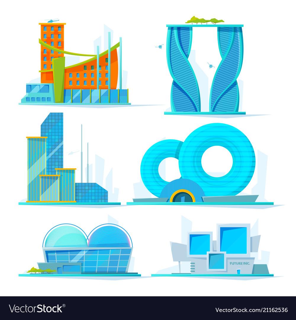 Futuristic buildings set flat pictures of