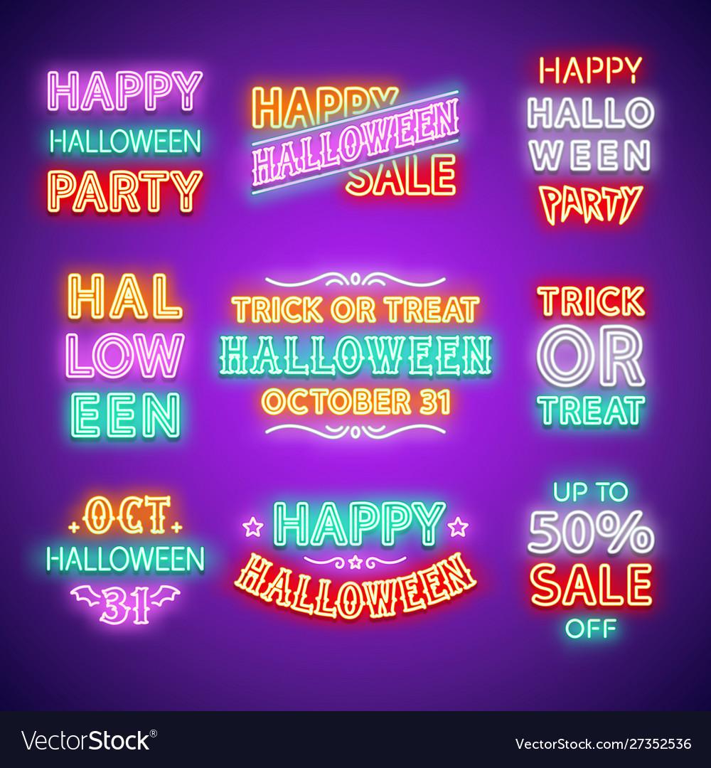 Halloween neon letterings set