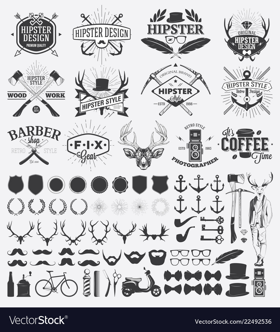 Hipster style design elements and vintage labels