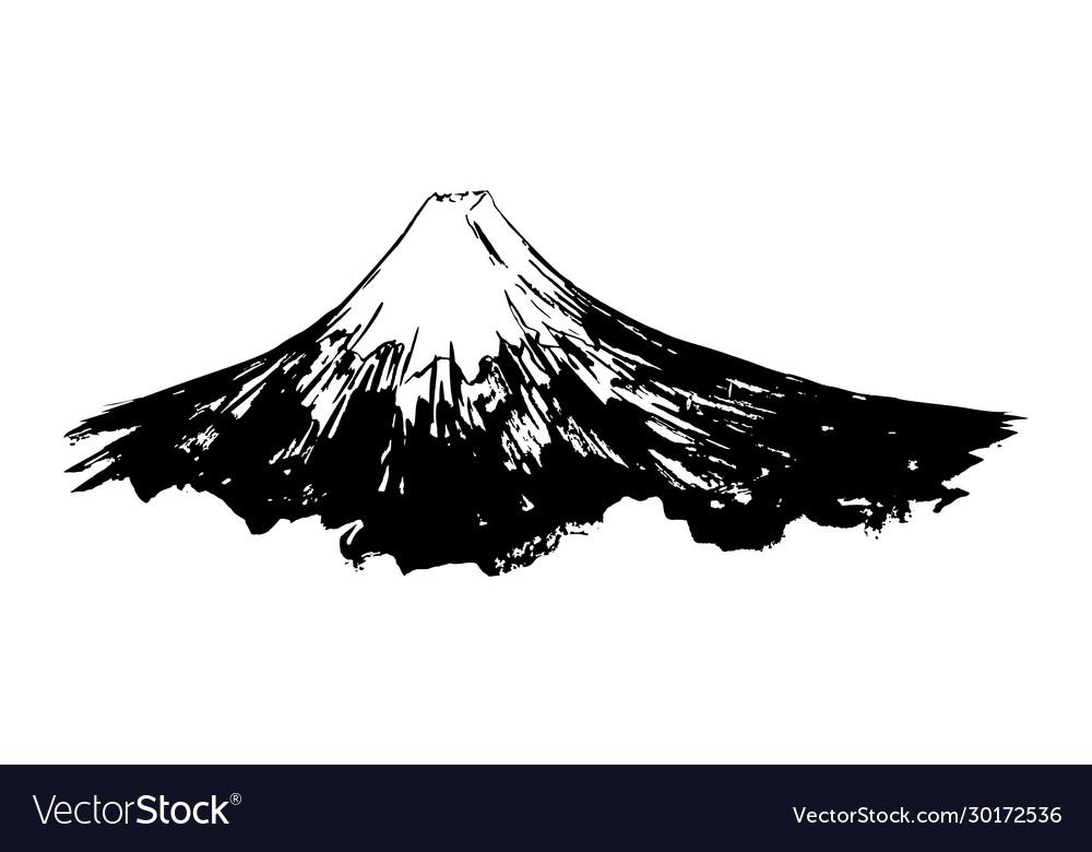 Japanese mountain fuji mount ink brush calligraphy