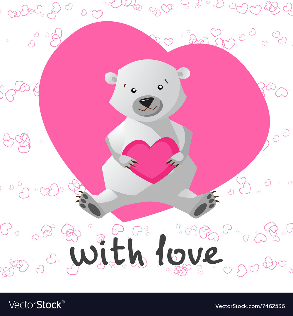 Love printable with cute bear holding heart