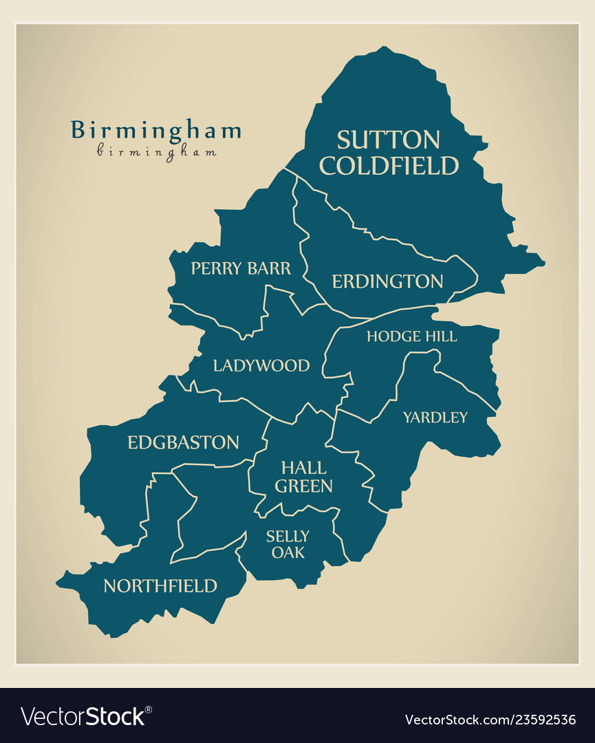 Map Of Birmingham England.Modern City Map Birmingham City Of England With Vector Image