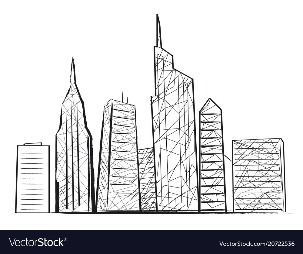 Night city light sketch icon vector image