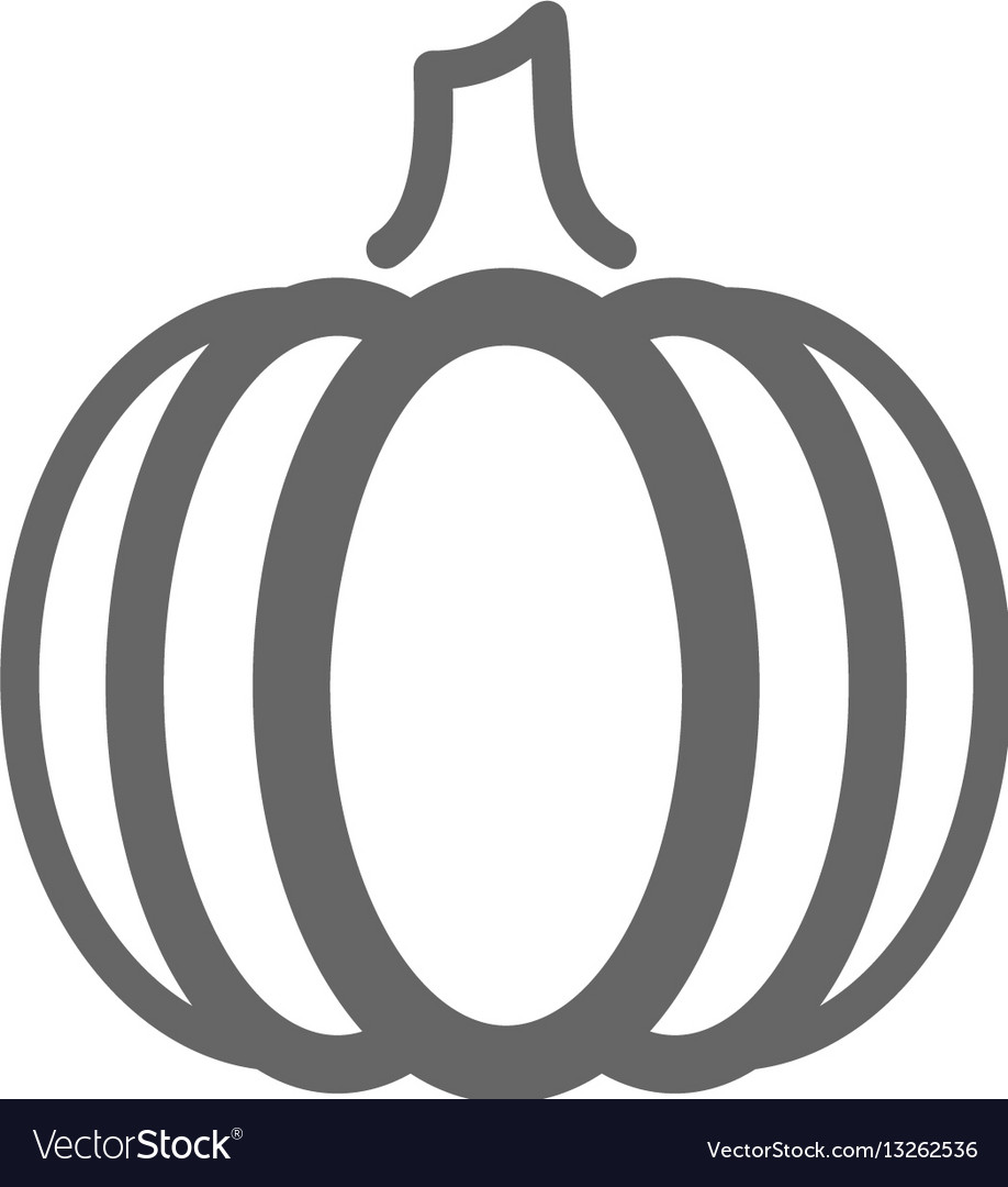 Pumpkin Outline Icon Vegetable Royalty Free Vector Image