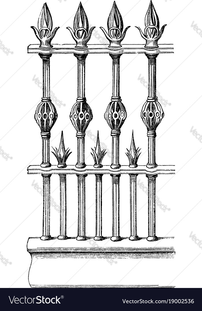 Railing is made out of wrought iron interior vector image