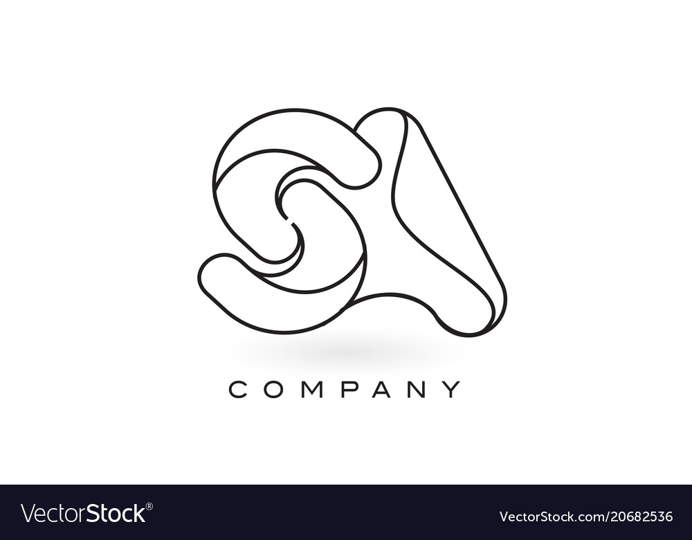 Sa monogram letter logo with thin black monogram vector image