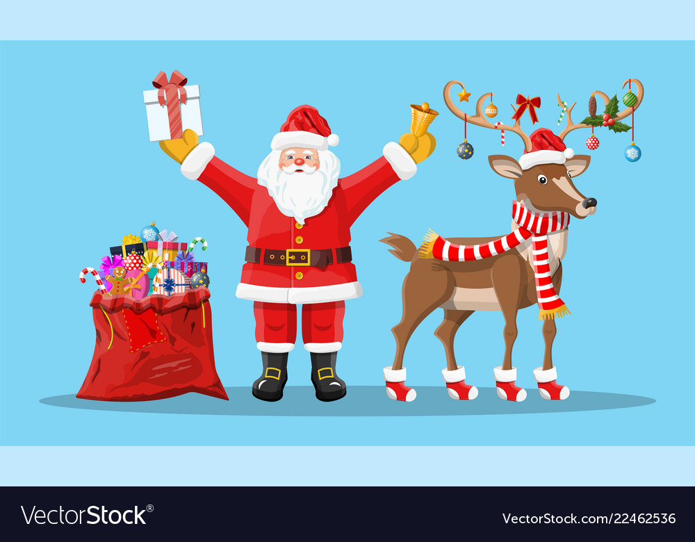 Santa claus with bell bag gifts and his reindeer