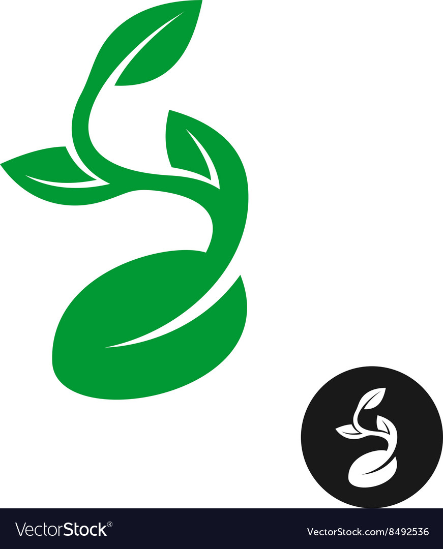 Sprout logo One shape style plant with seed and