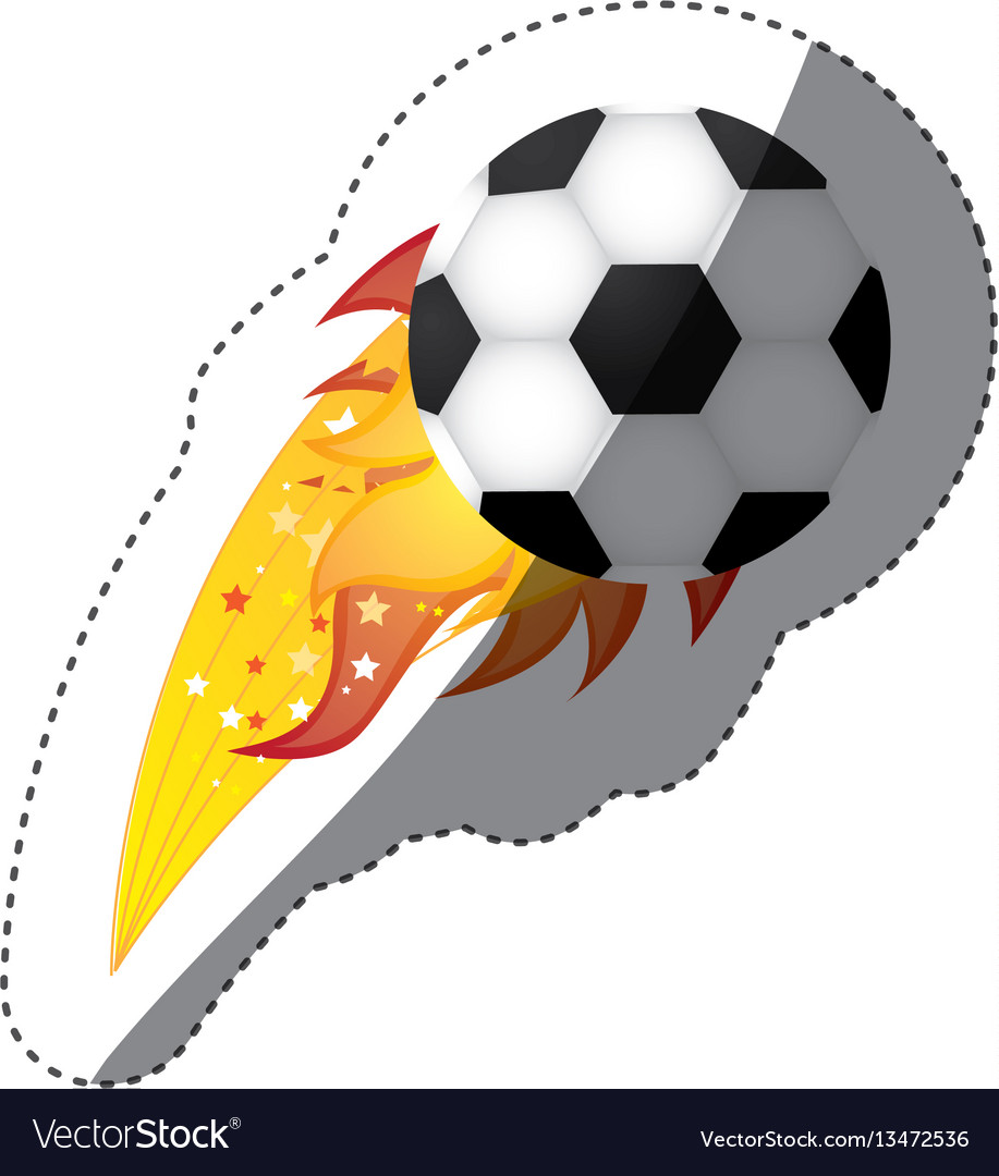 Sticker colorful olympic flame with soccer ball