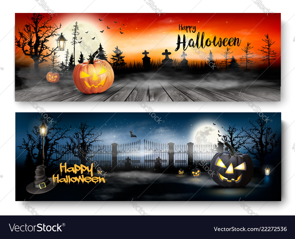 Two halloween spooky banners