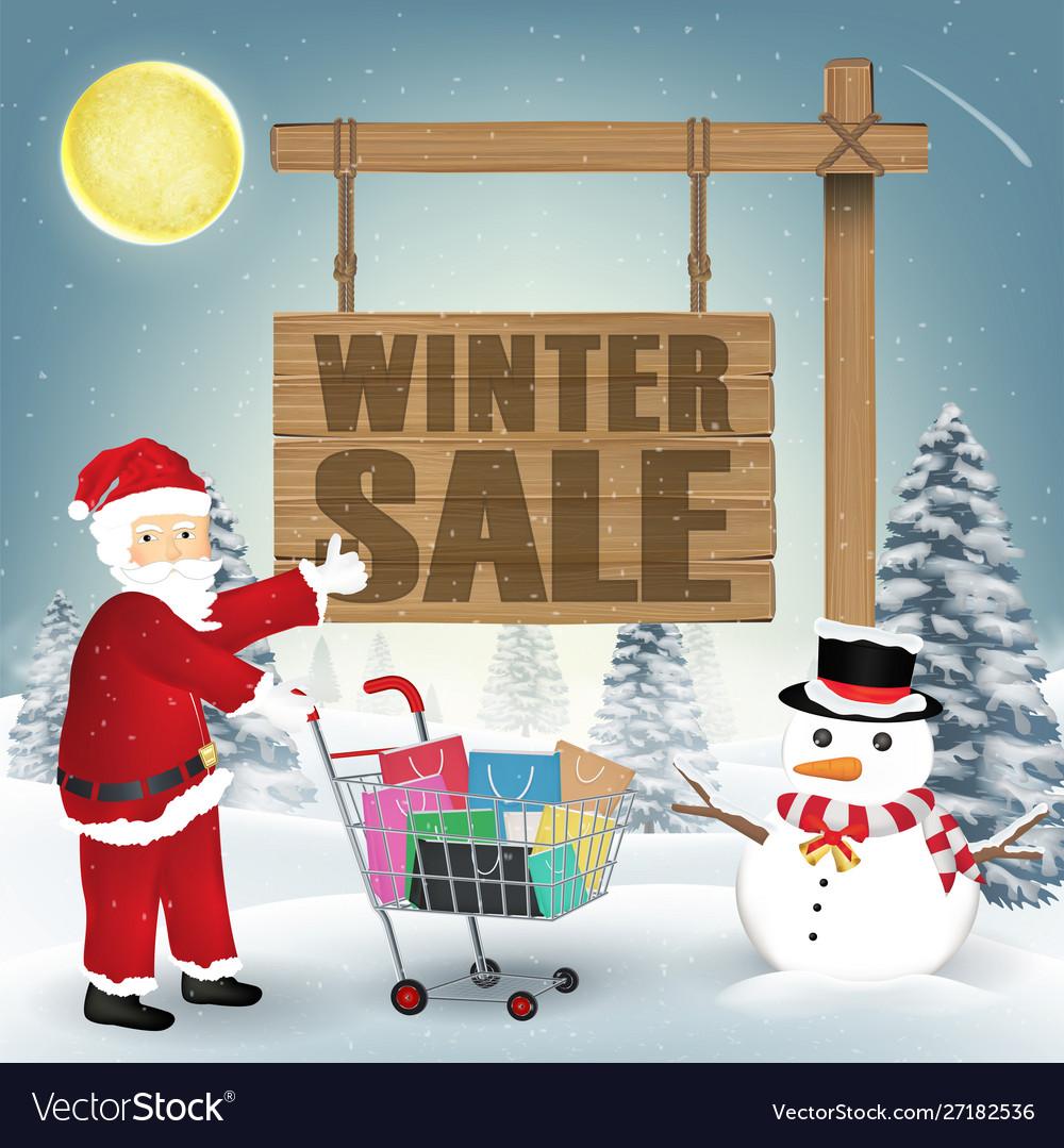 Winter sale santa claus snowman and shopping cart