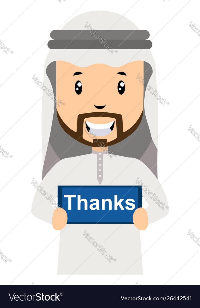 Arab with thanks sign on white background