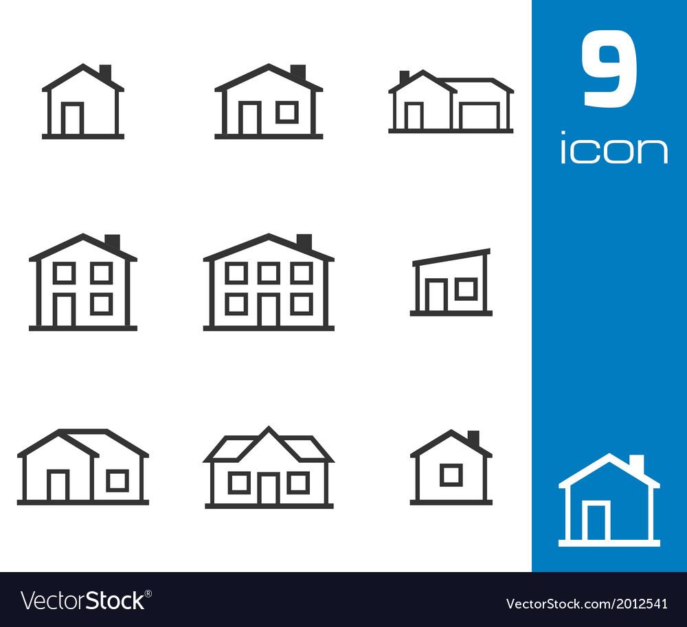 Black houses icons set