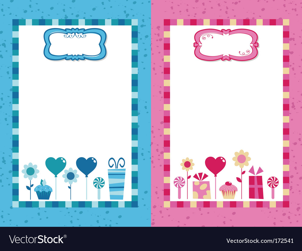 Blue and pink party frames vector image